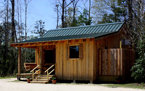 The Mayhaw Cabin provides rustic elegance for the perfect romantic getaway