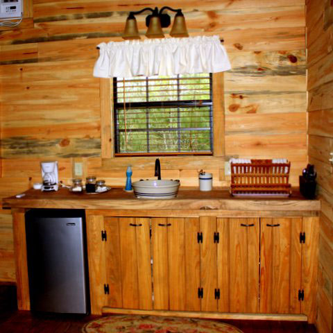 Rustic Snack Kitchen with refrigerator, toaster oven, and microwave